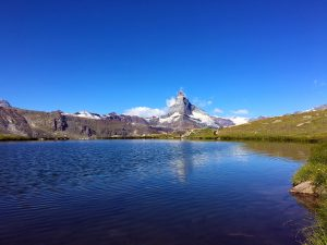 5 Lakes Hike - View of Matterhorn from Lake Stellisee