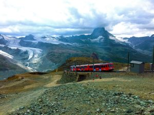 Gornergrat Cog Train - View of the Train at Gornergrat