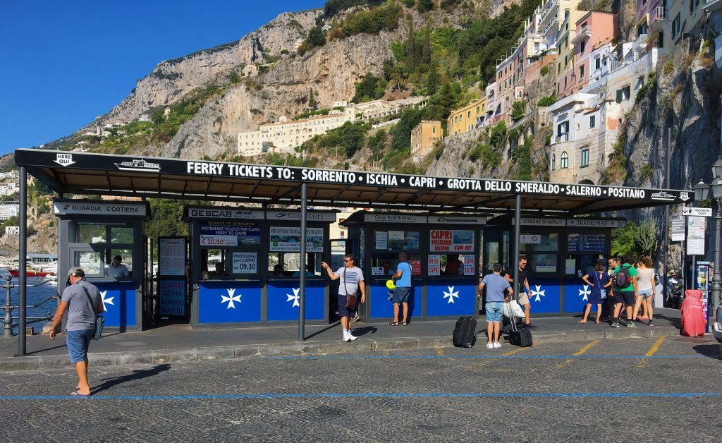 How to Get to the Blue Grotto on Italy's Amalfi Coast - Ferry Ticket Stand in Amalfi