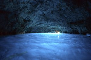 Inside the Blue Grotto on the Amalfi Coast (Island of Capri) Italy